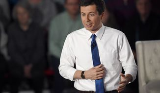 Democratic presidential candidate South Bend, Ind., Mayor Pete Buttigieg answers a question during a FOX News Channel town hall, Sunday, May 19, 2019, in Claremont, N.H. (AP Photo/Jessica Hill)