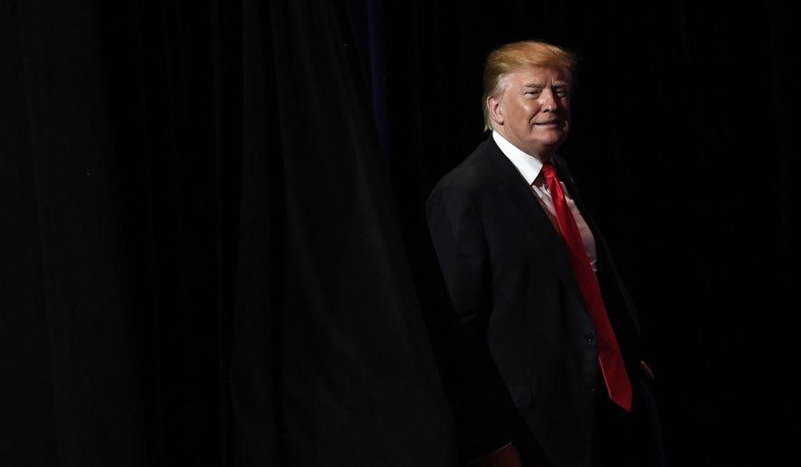 President Donald Trump arrives to speak at the National Association of REALTORS Legislative Meetings and Trade Expo, Friday, May 17, 2019, in Washington.  (AP Photo/Susan Walsh)