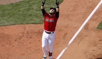 Boston Red Sox's Michael Chavis points skyward before crossing home plate after his home run against the Houston Astros during the fifth inning of a baseball game Sunday, May 19, 2019, at Fenway Park in Boston. (AP Photo/Winslow Townson)