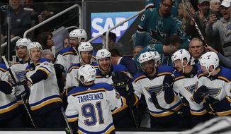 St. Louis Blues' Vladimir Tarasenko (91) celebrates a goal with the bench in the second period in Game 5 of the NHL hockey Stanley Cup Western Conference finals against the San Jose Sharks in San Jose, Calif., on Sunday, May 19, 2019. (AP Photo/Josie Lepe)