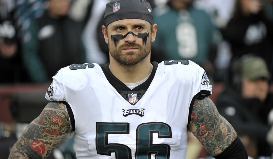 "In this Dec. 30, 2018, file photo, Philadelphia Eagles defensive end Chris Long stands on the sideline prior to the team's NFL football game against the Washington Redskins in Landover, Md. Long has announced his retirement from football, ending an 11-year NFL playing career that included winning two Super Bowl titles and the Walter Payton Man of the Year Award. Long posted his decision Saturday night, May 18, on Twitter, saying it has ""been a hell of a journey"" and adds that ""I can honestly say I put my soul into every minute of it."" (AP Photo/Mark Tenally, File) **FILE**"