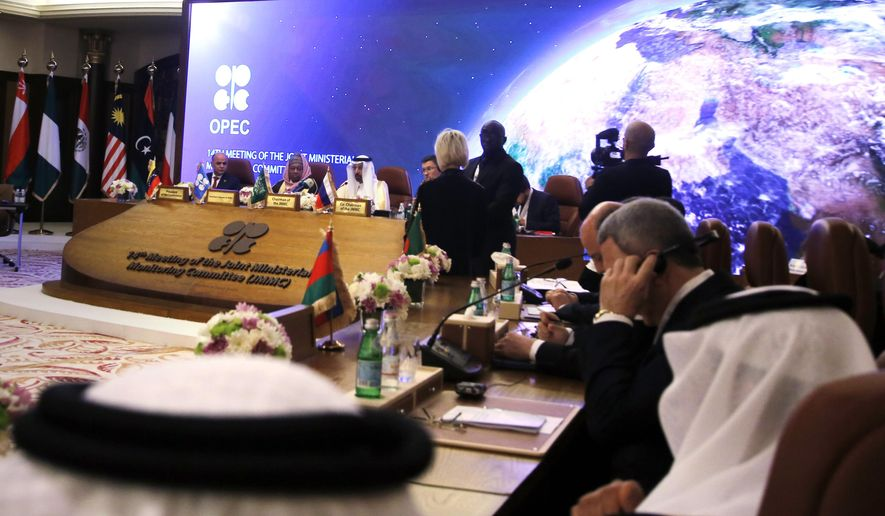 Energy ministers from OPEC and its allies meet to discuss prices and production cuts, in Jiddah, Saudi Arabia, Sunday, May 19, 2019. (AP Photo/Amr Nabil) ** FILE **