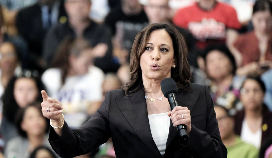 In this Sunday, May 19, 2019, photo Democratic presidential candidate Sen. Kamala Harris, D-Calif., talks during her first campaign organizing event at Los Angeles Southwest College in Los Angeles. (AP Photo/Richard Vogel)