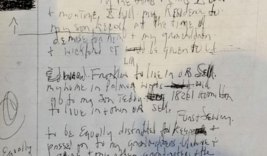 """This Monday, May 20, 2019, photo shows one of three handwritten wills that a lawyer said were found in the home of Aretha Franklin in Pontiac, Mich., months after her death. Three handwritten wills have been found in the suburban Detroit home of Franklin, months after the death of the """"Queen of Soul,"""" including one that was discovered under cushions in the living room, a lawyer said Monday. (AP Photo/Ed White)"""