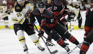 Boston Bruins' Noel Acciari (55) chases the puck with Carolina Hurricanes' Andrei Svechnikov (37), of Russia, during the first period in Game 4 of the NHL hockey Stanley Cup Eastern Conference final series in Raleigh, N.C., Thursday, May 16, 2019. (AP Photo/Gerry Broome)
