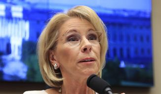 "In this April 10, 2019, file photo, Education Secretary Betsy DeVos testifies on Capitol Hill in Washington. An internal Education Department watchdog says DeVos has sometimes used personal email accounts for government business and did not always properly save the messages. The agency's Office of Inspector General released a report Monday, May 20, finding ""limited"" instances in which DeVos sent work emails from four personal accounts.  (AP Photo/Manuel Balce Ceneta, file) **FILE**"