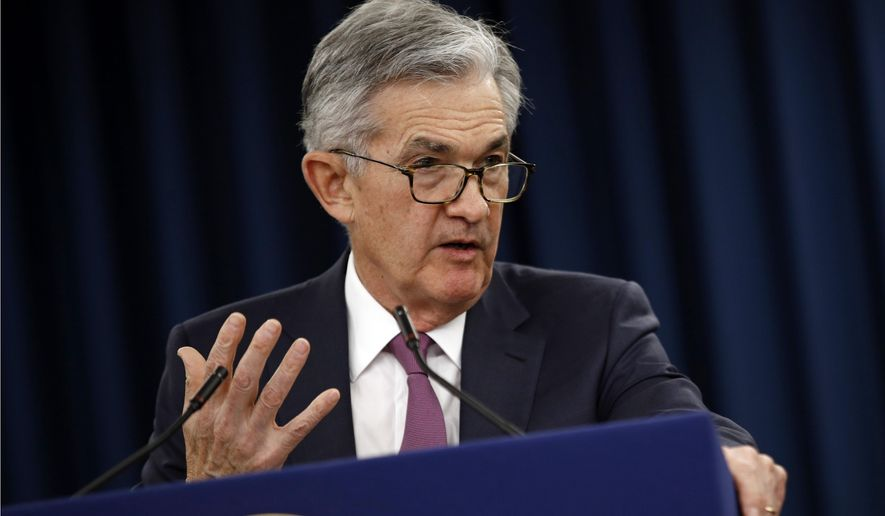 FILE - In this Wednesday, May 1, 2019, file photo, Federal Reserve Board Chair Jerome Powell speaks at a news conference following a two-day meeting of the Federal Open Market Committee, in Washington. Powell says a sharp rise in corporate debt is being closely monitored but currently the Fed does not see the types of threats that triggered the 2008 financial crisis. (AP Photo/Patrick Semansky, File)