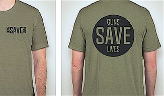 "The Libertarian Party now includes ""Guns Save Lives"" T-shirts and buttons among its official campaign gear. (Libertarian Party)"