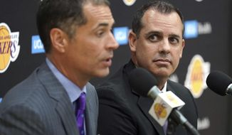 Los Angeles Lakers NBA basketball team general manager Rob Pelinka, left, introduces Frank Vogel as the Lakers new head coach at their training facility in El Segundo, Calif., Monday, May 20, 2019.  (Scott Varley/The Orange County Register/SCNG via AP)