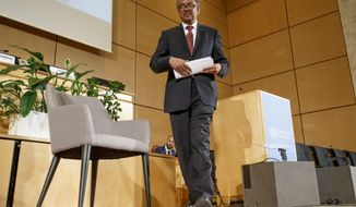 Tedros Adhanom Ghebreyesus, Director General of the World Health Organization (WHO) leaves the podium after his statement, during the first day of the 72nd World Health Assembly at the European headquarters of the United Nations in Geneva, Switzerland, Monday, May 20, 2019. (Salvatore Di Nolfi/Keystone via AP)