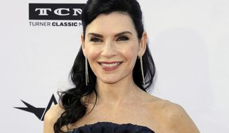 "FILE - This June 7, 2018 file photo shows Julianna Margulies at the 46th AFI Life Achievement Award Honoring George Clooney in Los Angeles. Margulies stars in the upcoming limited series ""The Hot Zone."" (Photo by Willy Sanjuan/Invision/AP, File)"