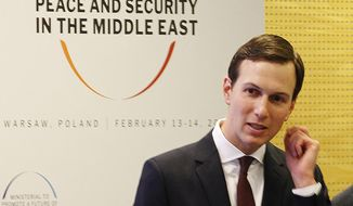 In this Feb. 14, 2019, file photo, White House Senior Adviser Jared Kushner attends a conference on Peace and Security in the Middle East in Warsaw, Poland. (AP Photo/Czarek Sokolowski, File)