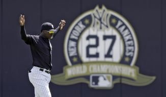 New York Yankees' Didi Gregorius stretches before a Gulf Coast League baseball game Monday, May 20, 2019, in Tampa, Fla. Gregorius is playing for the first time since having Tommy John surgery. (AP Photo/Chris O'Meara)