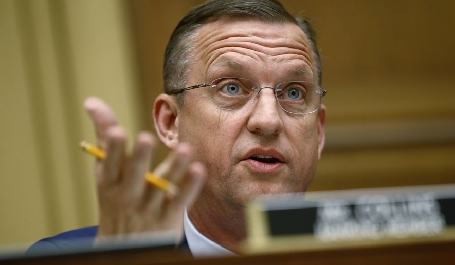 Rep. Doug Collins, R-Ga., ranking member of the House Judiciary Committee, speaks during a hearing without former White House Counsel Don McGahn, who was a key figure in special counsel Robert Mueller's investigation, on Capitol Hill in Washington, Tuesday, May 21, 2019. (AP Photo/Patrick Semansky)