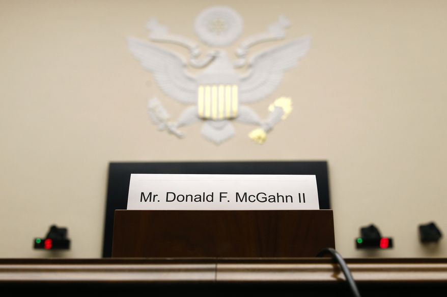 A name placard is displayed for former White House Counsel Don McGahn, who is not expected to appear before a House Judiciary Committee hearing, Tuesday, May 21, 2019, on Capitol Hill in Washington. (AP Photo/Patrick Semansky)