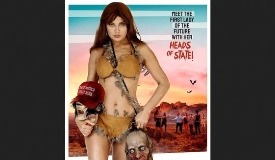 """""""When Women Rule the World"""" is being promoted at the Cannes Market and trade publications with a poster of a woman holding a decapitated head. The head wears a """"Make America Great Again"""" hat popularized by President Trump during his 2016 campaign. (Image: whenwomenrulefilm.com promotional website)"""
