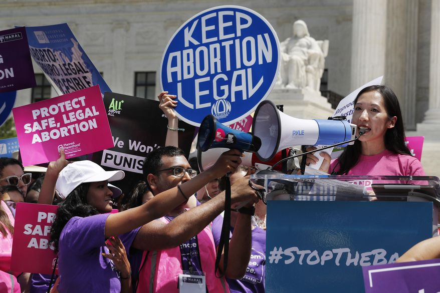 President of Planned Parenthood Leana Wen speaks during a protest against abortion bans, Tuesday, May 21, 2019, outside the Supreme Court in Washington. A coalition of dozens of groups held a National Day of Action to Stop the Bans, with other events planned throughout the week. (AP Photo/Jacquelyn Martin)