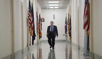 Judiciary Committee Chairman Jerrold Nadler, D-N.Y., arrives at his office before a House Judiciary Committee hearing without former White House Counsel Don McGahn, who was a key figure in special counsel Robert Mueller's investigation, on Capitol Hill in Washington, Tuesday, May 21, 2019. President Donald Trump directed McGahn to defy a congressional subpoena to testify but the committee's chairman, Rep. Jerrold Nadler, D-N.Y., has threatened to hold McGahn in contempt of Congress if he doesn't appear. (AP Photo/Andrew Harnik)