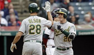 Oakland Athletics' Mark Canha (20) is congratulated by Matt Olson after Canha hit a two-run home run off Cleveland Indians starting pitcher Trevor Bauer in the third inning of a baseball game, Tuesday, May 21, 2019, in Cleveland. Olson scored on the play. (AP Photo/Tony Dejak)