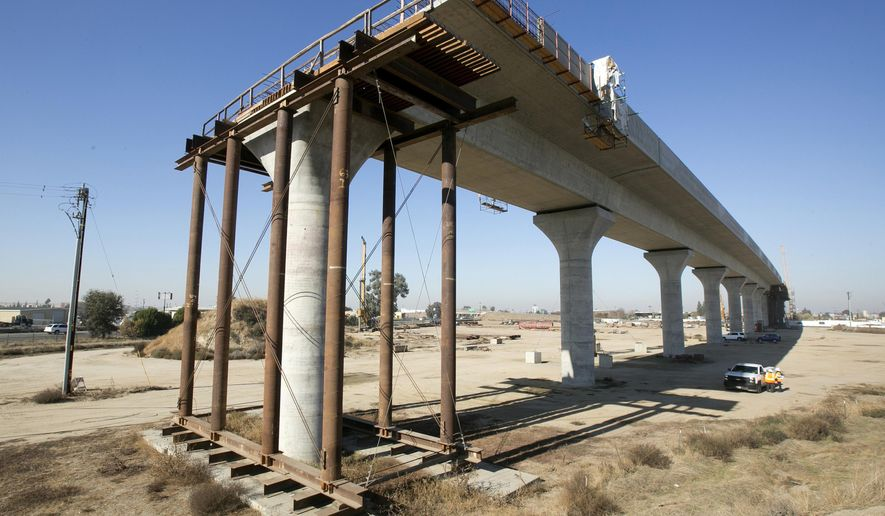 FILE - This Dec. 6, 2017, file photo shows one of the elevated sections of the high-speed rail under construction in Fresno, Calif. California has sued to block the Trump administration from cancelling nearly $1 billion for the state's high-speed rail project. The lawsuit filed Tuesday, May 21, 2019 comes after the administration revoked the funding last week. Gov. Gavin Newsom has called the move illegal and says it's political retribution for California's resistance to President Donald Trump's immigration policies. (AP Photo/Rich Pedroncelli, File)