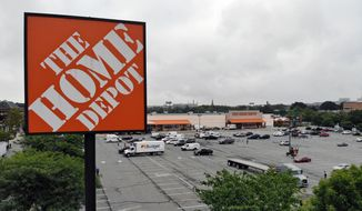 In this Aug. 14, 2018, file photo shows a Home Depot store in Passaic, N.J. (AP Photo/Ted Shaffrey, File)