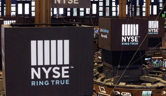 FILE- In this Aug. 21, 2018, file photo screens above trading posts on the floor of the New York Stock Exchange show the NSE logo.  U.S. stocks rallied in morning trading on Wall Street Tuesday, May 21, after the U.S. government temporarily eased off its proposed restrictions on technology sales to Chinese companies.   (AP Photo/Mark Lennihan, File)(AP Photo/Richard Drew, File)