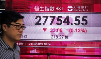 A man walks past an electronic board showing Hong Kong share index outside a local bank in Hong Kong, Tuesday, May 21, 2019. Asian stocks were mixed Tuesday after anxiety over U.S. restrictions on sales to Chinese tech giant Huawei pulled Wall Street lower. (AP Photo/Vincent Yu)