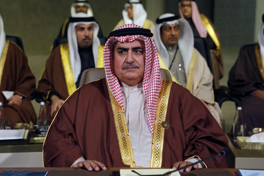 In this Jan. 20, 2019, file photo, Bahrain's foreign minister, Sheikh Khalid bin Ahmed Al Khalifa, attends the Arab Economic and Social Development Summit, in Beirut, Lebanon. (AP Photo/Bilal Hussein, File)