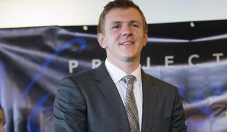 In this Sept. 1, 2015, photo, James O'Keefe, President of Project Veritas Action, waits to be introduced during a news conference at the National Press Club in Washington. (AP Photo/Pablo Martinez Monsivais) **FILE**