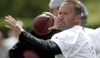 Pittsburgh Steelers quarterback Ben Roethlisberger (7) throws the ball during an NFL football practice, Tuesday, May 21, 2019, in Pittsburgh. Roethlisberger received pointed criticism from former teammates Antonio Brown and Le'Veon Bell among others during the offseason, both of whom took shots at Roethlisberger's leadership skills. Roethlisberger says the criticism bothered him but he's eager to move forward.(AP Photo/Keith Srakocic)