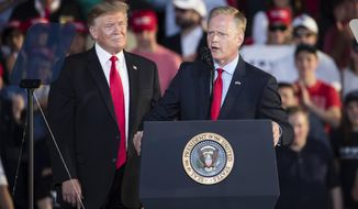 Rep. Fred Keller, R-Snyder, right, speaks as President Donald Trump looks on during a campaign rally in Montoursville, Pa., Monday, May 20, 2019. (AP Photo/Matt Rourke)