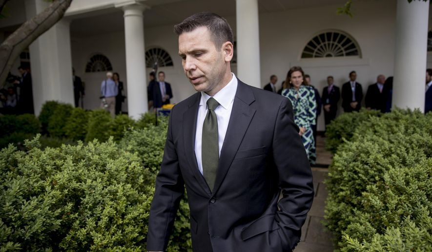 Acting Homeland Security Secretary Kevin McAleenan arrives for an immigration speech by President Donald Trump in the Rose Garden at the White House, Thursday, May 16, 2019, in Washington. (AP Photo/Andrew Harnik)