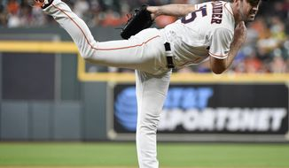 Houston Astros starting pitcher Justin Verlander follows through on a pitch during the first inning of a baseball game against the Chicago White Sox, Tuesday, May 21, 2019, in Houston. (AP Photo/Eric Christian Smith)