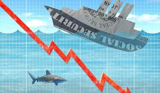 Social Security Benefit Ship Illustration by Greg Groesch/The Washington Times