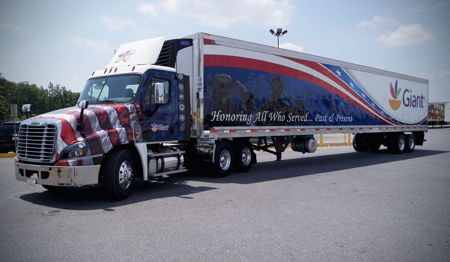 Giant Food is pleased to donate a truckload of bottled water and snacks for participants of the Rolling Thunder, Inc. Ride for Freedom. (Image courtesy of Giant Food)