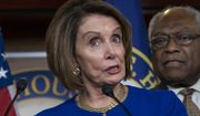 """Speaker of the House Nancy Pelosi, D-Calif., joined at right by Majority Whip James E. Clyburn, D-S.C., and other congressional leaders, reacts to a failed meeting with President Donald Trump at the White House on infrastructure, at the Capitol in Washington, Wednesday, May 22, 2019. Trump lashed out at Pelosi after she told reporters earlier in the morning on Capitol Hill she believed the president engaged in a """"cover up"""" of the Russia probe. (AP Photo/J. Scott Applewhite)"""