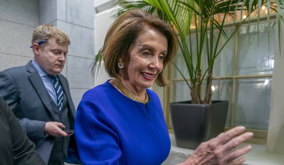 Speaker of the House Nancy Pelosi, D-Calif., arrives to meet with all the House Democrats, many calling for impeachment proceedings against President Donald Trump after his latest defiance of Congress by blocking his former White House lawyer from testifying yesterday, at the Capitol in Washington, Wednesday, May 22, 2019. (AP Photo/J. Scott Applewhite)