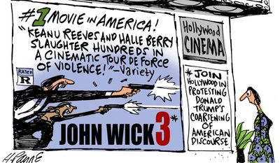 Join Hollywood in protesting ... (Illustration by Henry Payne for Detroit News)