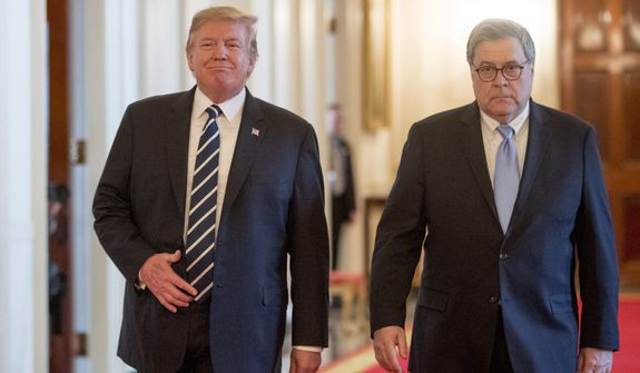 President Donald Trump and Attorney General William Barr arrive for a Public Safety Officer Medal of Valor presentation ceremony in the East Room of the White House in Washington, Wednesday, May 22, 2019.(AP Photo/Andrew Harnik)