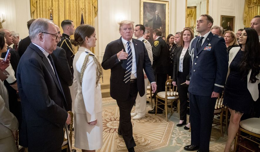 President Donald Trump departs a Public Safety Officer Medal of Valor presentation ceremony in the East Room of the White House in Washington, Wednesday, May 22, 2019.(AP Photo/Andrew Harnik)