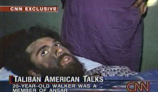 In this file image taken from video broadcast Dec. 19, 2001, John Walker Lindh is seen during an interview soon after his capture. According to CNN, the interview took place Dec. 2, 2001. Lindh, the young Californian who became known as the American Taliban after he was captured by U.S. forces in the invasion of Afghanistan in late 2001, is set to go free Thursday, May 23, 2019, after nearly two decades in prison. (CNN via AP) **FILE**