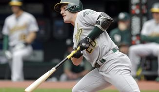 Oakland Athletics' Mark Canha watches his ball after hitting against Cleveland Indians starting pitcher Jefry Rodriguez in the first inning of a baseball game, Wednesday, May 22, 2019, in Cleveland. Canha grounded into a fielders choice. Marcus Semien scored on the play. (AP Photo/Tony Dejak)