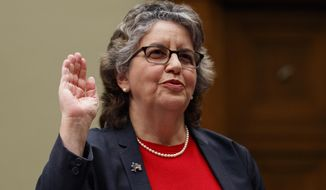 "U.S. Federal Election Commission Commissioner Ellen Weintraub is sworn in to testify on Capitol Hill in Washington, Wednesday, May 22, 2019, before the House Oversight and Reform National Security subcommittee hearing on ""Securing U.S. Election Infrastructure and Protecting Political Discourse."" (AP Photo/Carolyn Kaster)"