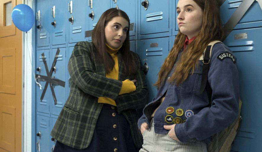 """This image released by Annapurna Pictures shows Beanie Feldstein, left, and Kaitlyn Dever in a scene from the film """"Booksmart,"""" directed by Olivia Wilde. (Francois Duhamel/Annapurna Pictures via AP)"""