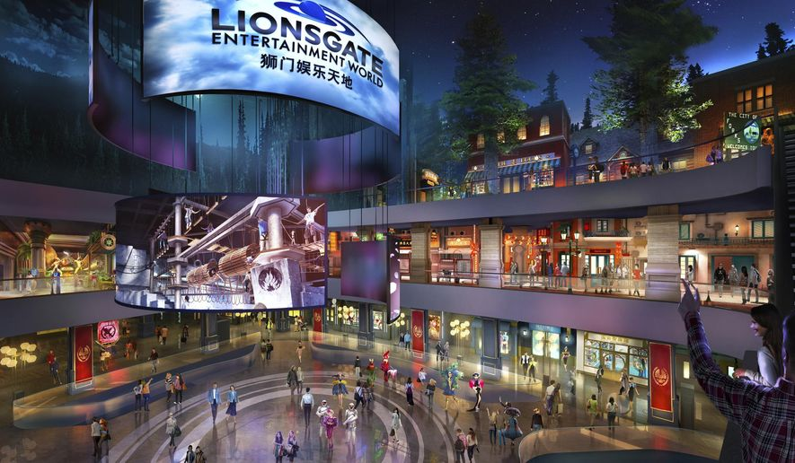 """This rendering released by Lionsgate shows the atrium of Lionsgate Entertainment World, a virtual reality-heavy theme park set to open in July on Hengqin island in Zhuhai, China. The park will feature rides, shops and attractions set in the worlds of popular Lionsgate films including """"The Hunger Games,"""" """"Twilight"""" and """"Escape Room."""" (Lionsgate via AP)"""