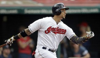 Cleveland Indians' Carlos Gonzalez watches his ball after hitting a sacrifice fly off Baltimore Orioles starting pitcher Yefry Ramirez in the first inning of a baseball game, Sunday, May 19, 2019, in Cleveland. Jason Kipnis scored on the play. (AP Photo/Tony Dejak)