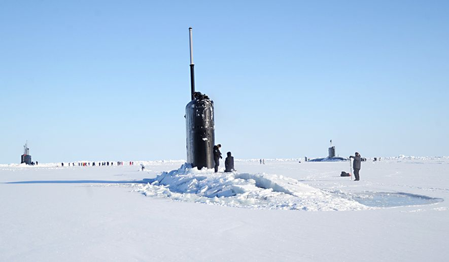The Seawolf-class fast-attack submarine USS Connecticut (SSN 22), left, Los Angeles-class fast-attack submarine USS Hartford (SSN 768), center, and the Royal Navy hunter killer submarine, HMS Trenchant (S-91) surface through the ice during the multinational maritime Ice Exercise (ICEX) in the Arctic Circle. ICEX 2018 is a five-week exercise that allows the Navy to assess its operational readiness in the Arctic, increase experience in the region, advance understanding of the Arctic environment, and continue to develop relationships with other services, allies and partner organizations. (U.S. Navy photo by Chief Mass Communication Specialist  Darryl I. Wood/Released)