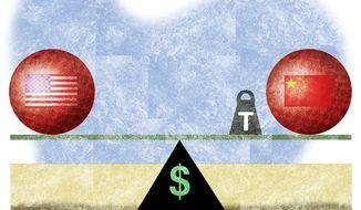 Illustration on the benefits of tariffs by Alexander Hunter/The Washington Times