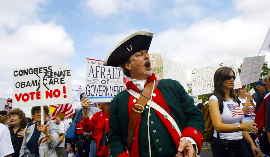 Out of the past: A scene from the tea party Tax Payer's March on Washington on Sept. 12, 2009, to protest tax-and-spend programs. (Associated Press)