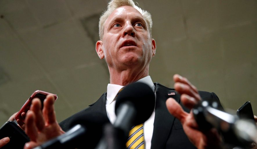 """""""What we're looking at is: Are there things that we can do to enhance force protection in the Middle East?"""" said acting Defense Secretary Patrick M. Shanahan on Thursday. (ASSOCIATED PRESS)"""